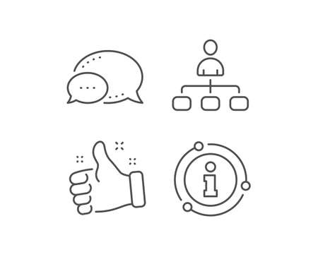 Management line icon. Chat bubble, info sign elements. Business strategy sign. Development symbol. Linear management outline icon. Information bubble. Vector