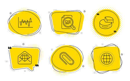 Paper clip, Check article and Globe signs. Chat bubbles. Web mail, Pie chart and Stock analysis line icons set. World communication, 3d graph, Business trade. Attach paperclip. Education set. Vector Иллюстрация