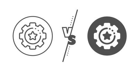 Cogwheel with star sign. Versus concept. Settings gear line icon. Working process symbol. Line vs classic settings gear icon. Vector