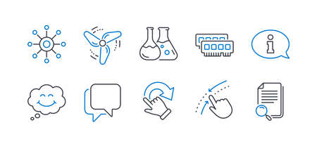 Set of Technology icons, such as Smile, Information, Rotation gesture, Chemistry lab, Swipe up, Talk bubble, Multichannel, Wind energy, Ram, Search file line icons. Comic chat, Info center. Vector
