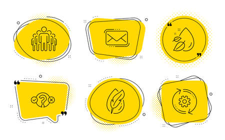 Messenger mail, Quiz test and Cogwheel signs. Chat bubbles. Hypoallergenic tested, Group and Water drop line icons set. Feather, Managers, Serum oil. New e-mail. Business set. Vector Illustration