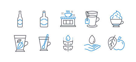 Set of Food and drink icons, such as Coffee shop, Beer bottle, Tea mug, Tea, Whiskey bottle, Gluten free, Mint leaves, Cappuccino cream, Water care, Apple line icons. Line coffee shop icon. Vector Illustration