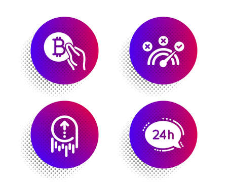 Correct answer, Swipe up and Bitcoin pay icons simple set. Halftone dots button. 24h service sign. Speed symbol, Scrolling page, Cryptocurrency coin. Call support. Technology set. Vector Ilustrace
