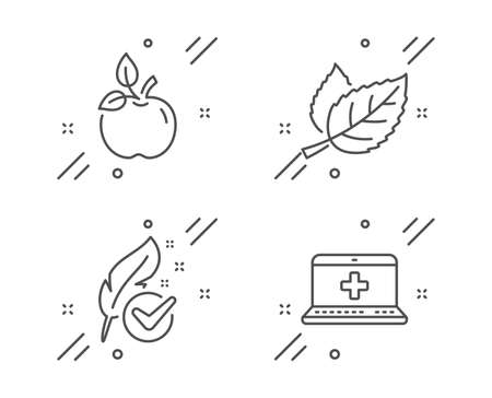 Hypoallergenic tested, Eco food and Leaf line icons set. Medical help sign. Feather, Organic tested, Nature leaves. Medicine laptop. Healthcare set. Line hypoallergenic tested outline icon. Vector