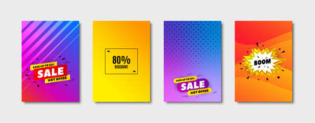 80% Discount. Cover design, banner badge. Sale offer price sign. Special offer symbol. Poster template. Sale, hot offer discount. Flyer or cover background. Coupon, banner design. Vector
