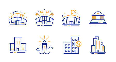 Loan house, Arena stadium and Lighthouse line icons set. Court building, Arena and University campus signs. Skyscraper buildings symbol. Discount percent, Competition building. Buildings set. Vector
