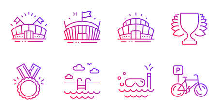 Swimming pool, Sports arena and Arena stadium line icons set. Honor, Winner and Scuba diving signs. Bicycle parking symbol. Basin, Event stadium. Sports set. Gradient swimming pool icon. Vector