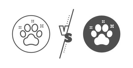 Dog paw sign. Versus concept. Pet friendly line icon. Hotel service symbol. Line vs classic pet friendly icon. Vector