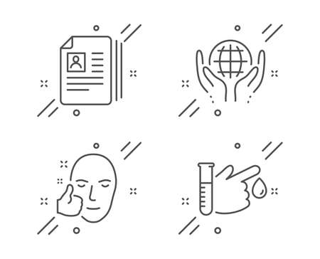 Organic tested, Healthy face and Cv documents line icons set. Blood donation sign. Safe nature, Healthy cosmetics, Portfolio files. Medicine analyze. People set. Vector