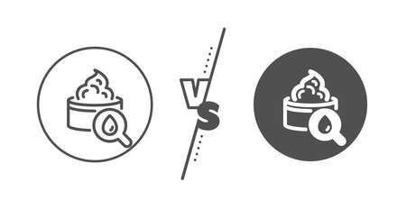 Skin care sign. Versus concept. Moisturizing face cream line icon. Cosmetic lotion symbol. Line vs classic moisturizing cream icon. Vector