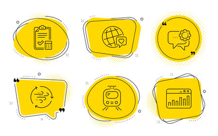Train, Accounting checklist and Marketing statistics signs. Chat bubbles. World brand, Employees messenger and Wind energy line icons set. Love, Speech bubble, Breeze power. Tram. Business set. Vector