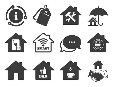 House insurance, broker and casino with bar signs. Discount offer tag, chat, info icon. Real estate icons. Handshake deal, coffee and smart house symbols. Classic style signs set. Vector Çizim