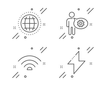 Globe, Wifi and Cogwheel line icons set. Energy sign. Internet world, Wifi internet, Engineering tool. Thunderbolt. Technology set. Line globe outline icon. Vector Banque d'images - 128736107