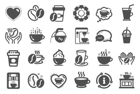 Coffee icons. Beans, hot cocktail and coffee maker machine. Espresso cup, cappuccino with whipped cream icons. Latte vending machine, breakfast drink and roasted beans. Quality set. Vector