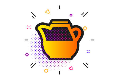 Fresh drink sign. Halftone circles pattern. Milk jug for coffee icon. Beverage symbol. Classic flat milk jug icon. Vector