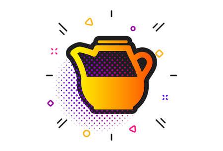 Fresh drink sign. Halftone circles pattern. Milk jug for coffee icon. Beverage symbol. Classic flat milk jug icon. Vector