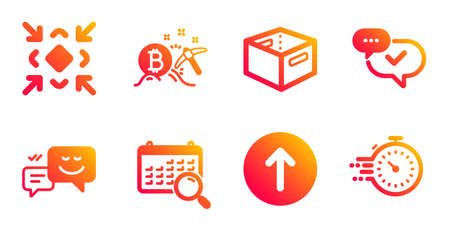 Minimize, Office box and Search calendar line icons set. Swipe up, Bitcoin mining and Happy emotion signs. Approved, Timer symbols. Small screen, Delivery box. Technology set. Vector