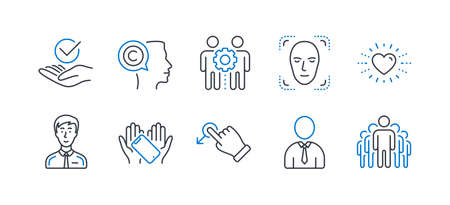 Set of People icons, such as Human, Drag drop, Employees teamwork, Heart, Writer, Smartphone holding, Approved, Businessman person, Face detection, Group line icons. Person profile, Move. Vector Illustration