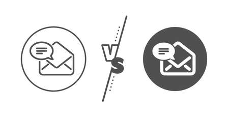 Message correspondence sign. Versus concept. New Mail line icon. E-mail symbol. Line vs classic new Mail icon. Vector Illustration
