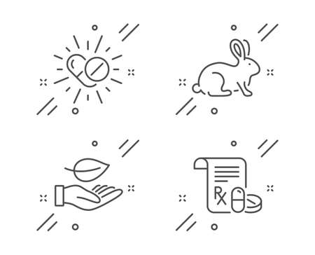 Leaf, Medical drugs and Animal tested line icons set. Medical prescription sign. Plant care, Medicine pills, Bio product. Medicine drugs. Healthcare set. Line leaf outline icon. Vector