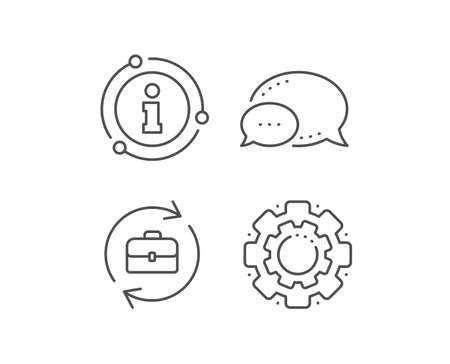 Ikona linii rekrutacji firmy. Bańka czatu, elementy informacji znak. Sprawa portfela lub znak rozmowy kwalifikacyjnej. Ikona konturu liniowy zasobów ludzkich. Bańka informacyjna. Wektor