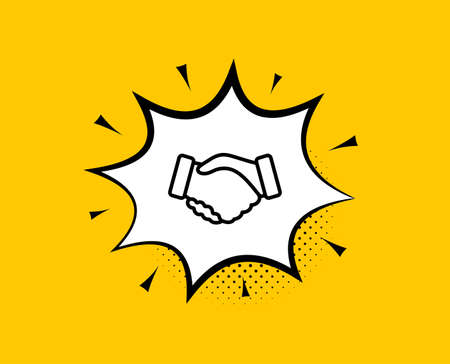 Handshake line icon. Comic speech bubble. Hand gesture sign. Business deal palm symbol. Yellow background with chat bubble. Handshake icon. Colorful banner. Vector  イラスト・ベクター素材