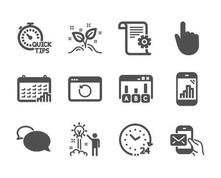 Set of Education icons, such as 24 hours, Recovery internet, Hand click, Creative idea, Quick tips, Technical documentation, Calendar graph, Messenger, Survey results, Startup concept. Vector  イラスト・ベクター素材