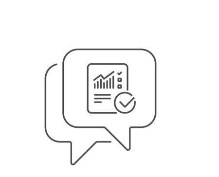 Checklist document line icon. Chat bubble design. Analysis Chart or Sales growth report sign. Statistics data symbol. Outline concept. Thin line checked calculation icon. Vector Reklamní fotografie - 128719620