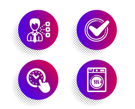 Time management, Third party and Confirmed icons simple set. Halftone dots button. Dryer machine sign. Office clock, Team leader, Accepted message. Laundry. Business set. Vector Иллюстрация