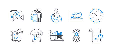 Set of Education icons, such as Painting brush, Trade chart, Employee, Accounting report, T-shirt design, Shoulder strap, Diagram chart, Share, Time change, Report line icons. Vector