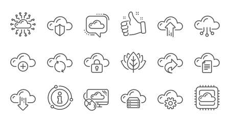Cloud data and technology icons. Hosting, Computing data and File storage. Computer sync linear icon set. Quality line set. Vector