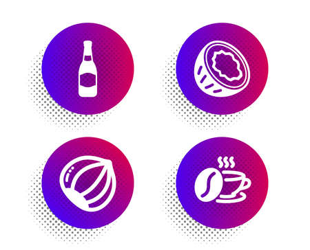 Coconut, Beer bottle and Hazelnut icons simple set. Halftone dots button. Coffee cup sign. Vegetarian nut, Brewery, Roasted bean. Food and drink set. Classic flat coconut icon. Vector