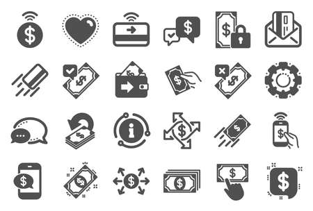 Payment wallet icons. Set of Accept money transfer, Pay with Phone and Credit card by mail icons. Online payment, Dollar exchange and Fast money send. Private pay, Cash and Wallet. Quality set. Vector