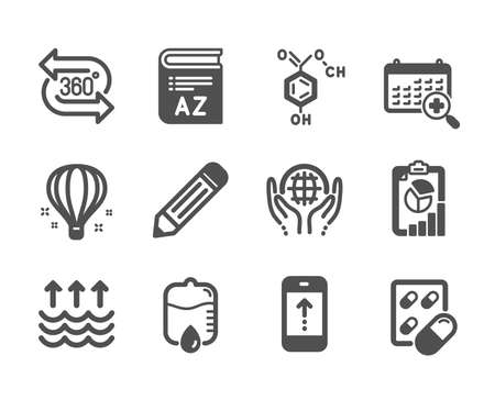 Set of Science icons, such as Air balloon, Pencil, Chemical formula, Evaporation, Swipe up, Organic tested, Drop counter, Vocabulary, 360 degree, Capsule pill, Medical calendar, Report. Vector