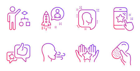 Like, Startup and Head line icons set. Algorithm, Breathing exercise and Ranking signs. Star rating, Capsule pill symbols. Star rating, Developer. People set. Gradient like icon. Vector
