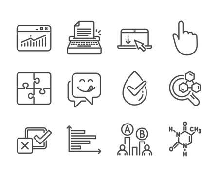 Set of Technology icons, such as Website statistics, Chemical formula, Checkbox, Hand click, Horizontal chart, Puzzle, Ab testing, Yummy smile, Chemistry lab, Typewriter, Scroll down. Vector Illustration