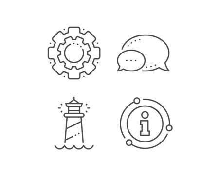 Lighthouse line icon. Chat bubble, info sign elements. Searchlight tower sign. Beacon symbol. Linear lighthouse outline icon. Information bubble. Vector