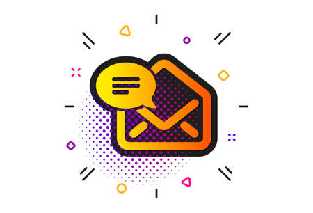 Message correspondence sign. Halftone circles pattern. New Mail icon. E-mail symbol. Classic flat new Mail icon. Vector Illustration