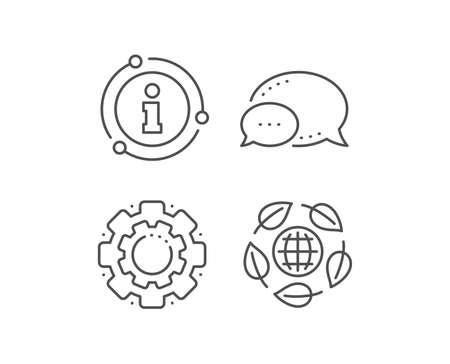 Eco organic line icon. Chat bubble, info sign elements. Bio cosmetics sign. Fair trade symbol. Linear eco organic outline icon. Information bubble. Vector Standard-Bild - 128721424