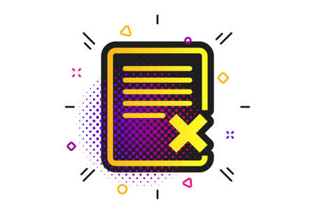 Delete file sign icon. Halftone dots pattern. Remove document symbol. Classic flat delete icon. Vector