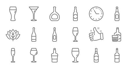 Bottles line icons. Beer drinks, Wine glass and Whiskey bottle. Champagne linear icon set. Quality line set. Vector