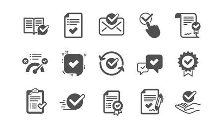 Approve icons. Checklist, Certificate and Award medal. Certified document classic icon set. Quality set. Vector Çizim