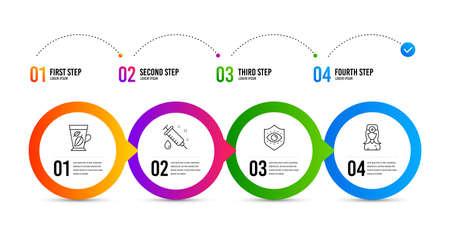 Medical syringe, Eye protection and Mint leaves line icons set. Timeline infographic. Oculist doctor sign. Vaccination, Optometry, Mentha leaf. Optometrist. Healthcare set. Vector Ilustracja