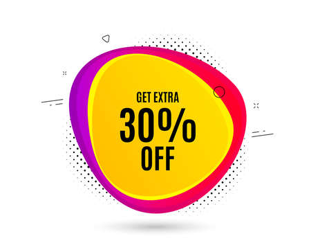 Get Extra 30% off Sale. Banner text shape. Discount offer price sign. Special offer symbol. Save 30 percentages. Geometric vector banner. Extra discount text. Gradient shape badge. Vector Ilustrace