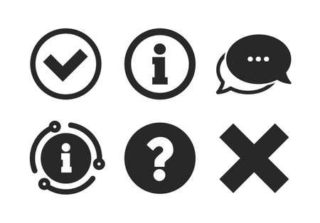 Löschen und hinterfragen Sie FAQ-Zeichen. Chat, Infoschild. Informationssymbole. Genehmigtes Häkchensymbol. Sprechblase im klassischen Stil. Vektor Vektorgrafik