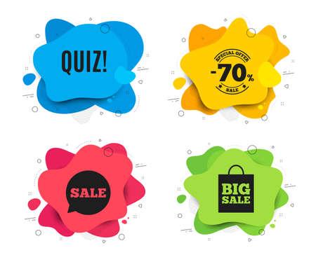 Quiz symbol. Liquid shape, various colors. Answer question sign. Examination test. Geometric vector banner. Quiz text. Gradient shape badge. Vector