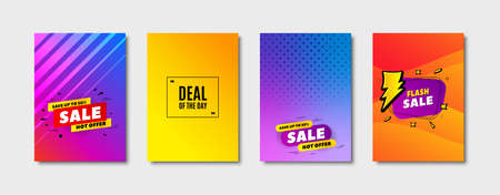 Deal of the day symbol. Cover design, banner badge. Special offer price sign. Advertising discounts symbol. Poster template. Sale, hot offer discount. Flyer or cover background. Vector
