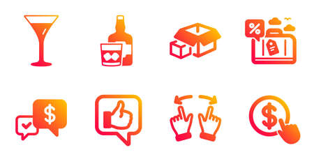 Martini glass, Packing boxes and Whiskey glass line icons set. Payment received, Travel loan and Like signs. Move gesture, Buy currency symbols. Wine, Delivery package. Business set. Vector Illustration