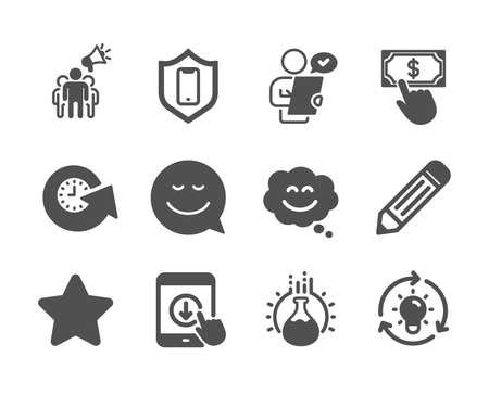 Set of Technology icons, such as Pencil, Idea, Scroll down, Smile, Smile chat, Customer survey, Chemistry experiment, Update time, Star, Smartphone protection, Brand ambassador. Pencil icon. Vector