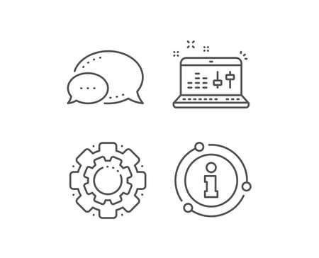 Sound check line icon. Chat bubble, info sign elements. DJ controller sign. Musical app on laptop symbol. Linear sound check outline icon. Information bubble. Vector Stock Illustratie